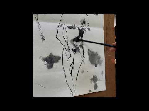 Robert Sherrill's figure drawing demo with Rat Whisker Brush on Hemp Paper
