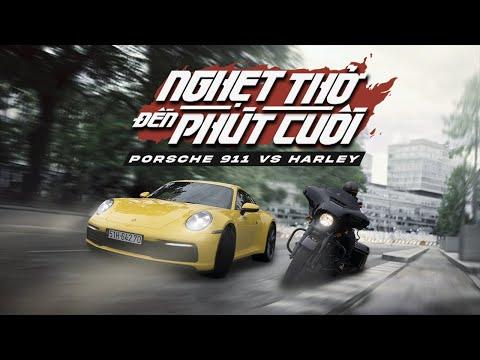 """Nghẹt Thở Đến Phút Cuối: Porsche 911 """"Đụng Độ"""" Harley  XEHAY.VN """