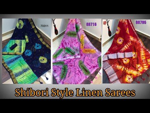 Pure Linen Sarees In Shibori Style    Linen Sarees    Premi Collections
