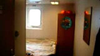 passenger cabin aboard freighter / container ship crossing the ocean