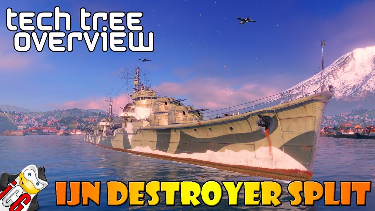 World of Warships - Tech Tree Overview - Japanese Destroyer Split