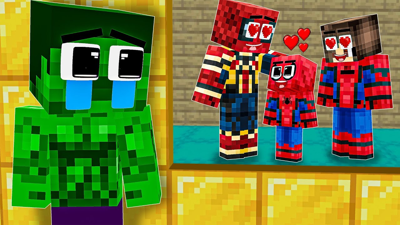 Monster School : Hulk is Unhappy Living with His Foster Parents - Sad Story - Minecraft Animation
