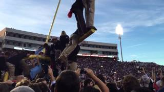 Ole Miss students tear down goal post after Alabama win