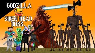 Monster School : SIREN HEAD BOSS VS GODZILLA CHALLENGE - Minecraft Animation