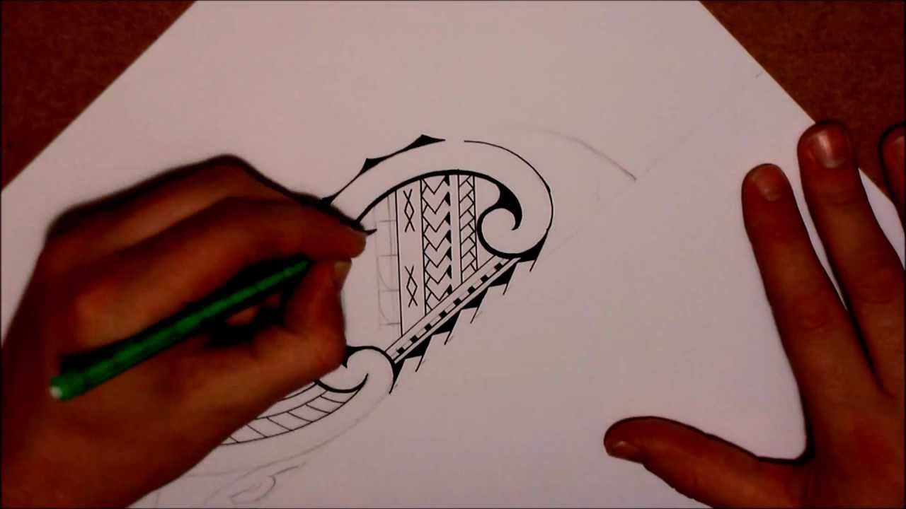 9dc7be69c How to draw a tribal lower leg tattoo in Samoan & Maori style ...