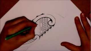 How to draw a tribal lower leg tattoo in Samoan & Maori style