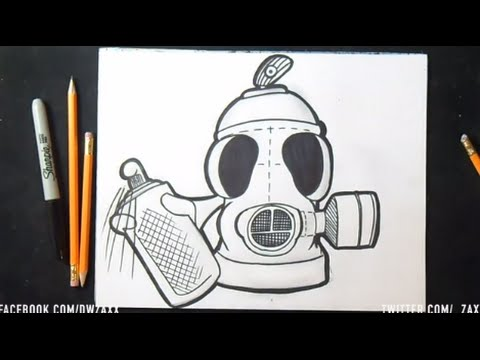 Comment dessiner masque anti gaz spraycan graffiti youtube - Bombe de graffiti ...