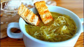 Французский луковый суп со сливками и гренками