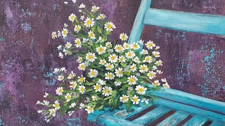 Blue Chair with White Flowers Acrylic Painting LIVE Tutorial