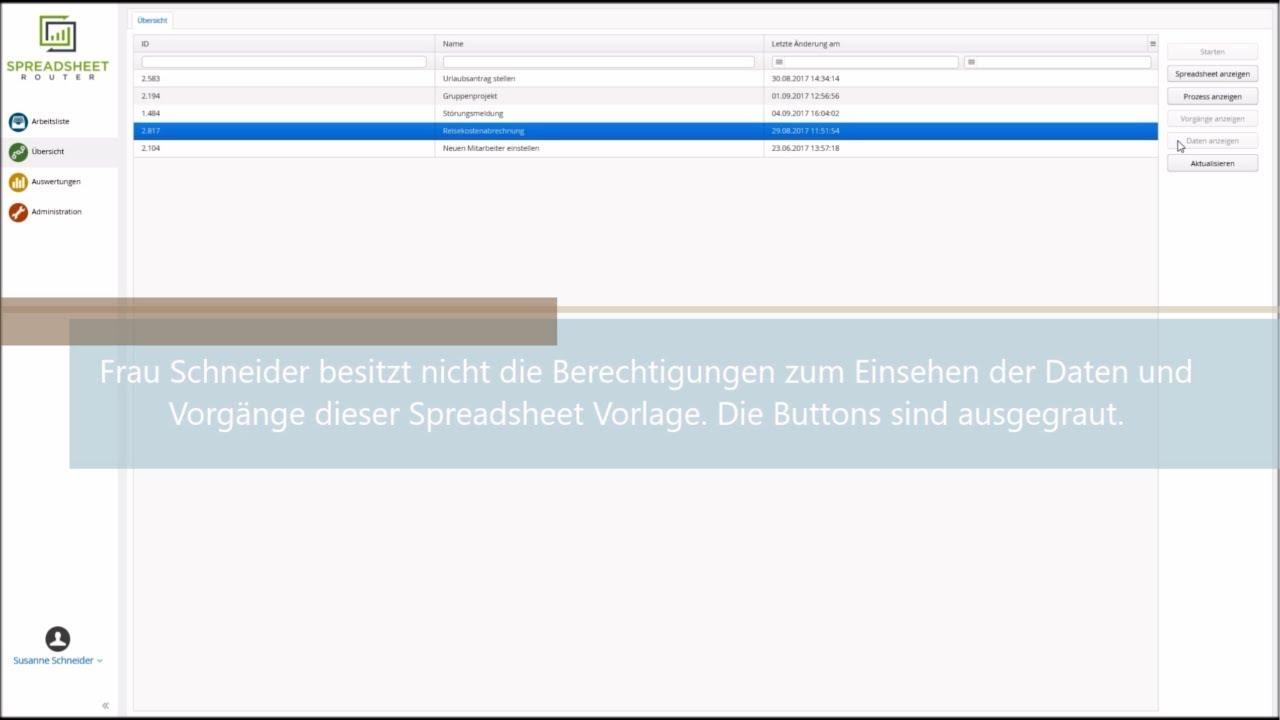 Youtube Video: Spreadsheet Router Tutorial: Anzeigeberechtigung für Vorgänge vergeben
