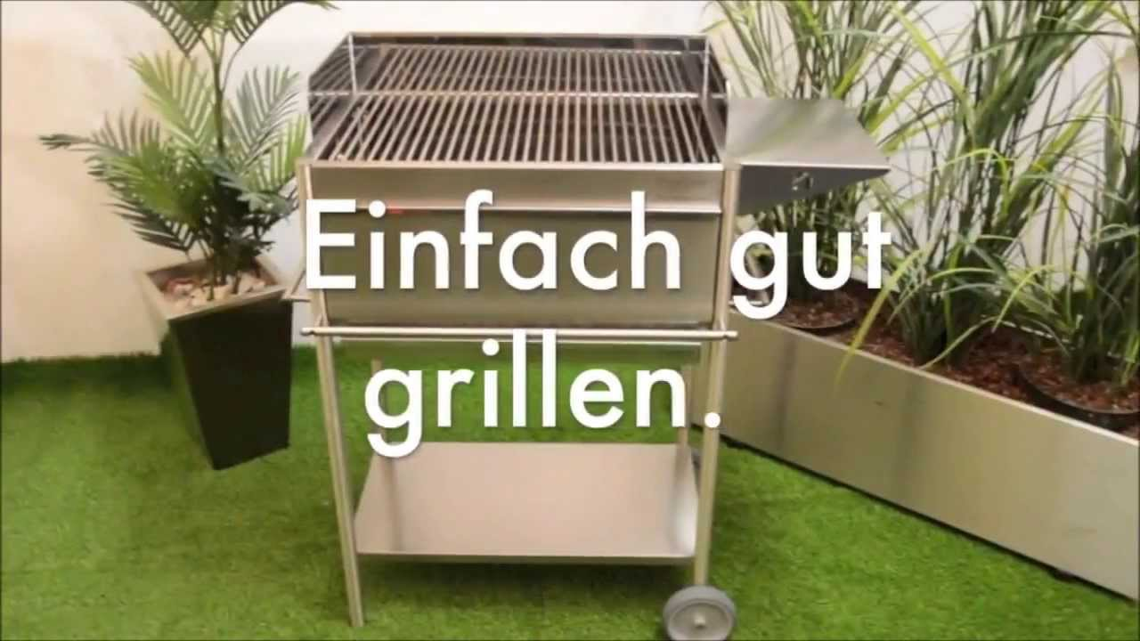 holzkohle grill aus edelstahl premio ein profigrill aus deutscher fertigung youtube. Black Bedroom Furniture Sets. Home Design Ideas
