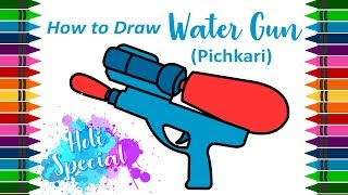 How to Draw Water Gun (Pichkari)    Drawing tutorial for kids by (Holi Special) by Kid