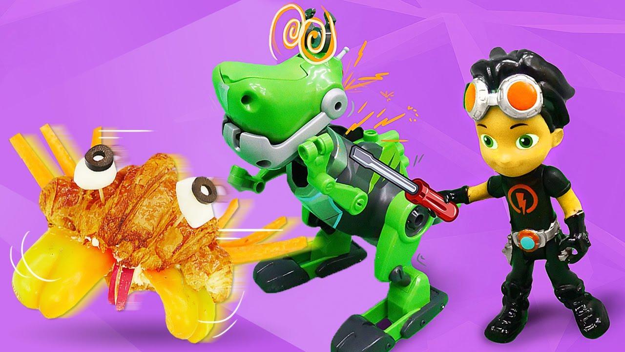 Cocinamos con el Dinosaurio de juguete y los Superhéroes. Juego de cocina. Cocina para niños