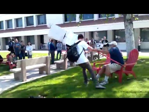 Student Attack Anti-Gay Protester's Sign at Saddleback College