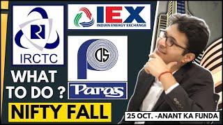 IRCTC, IEX, Paras defence - What to do now? | Nifty tomorrow |