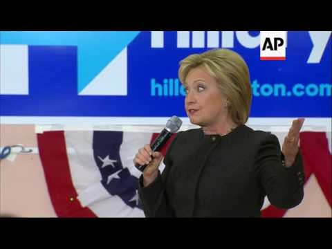 Hilary Clinton holds rally in New Hampshire
