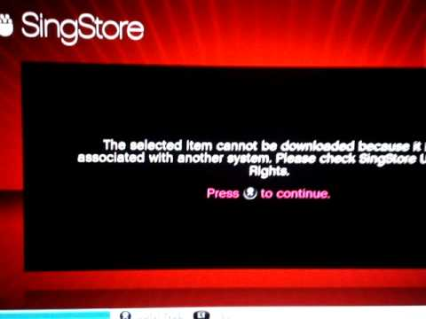 Singstar song cant download