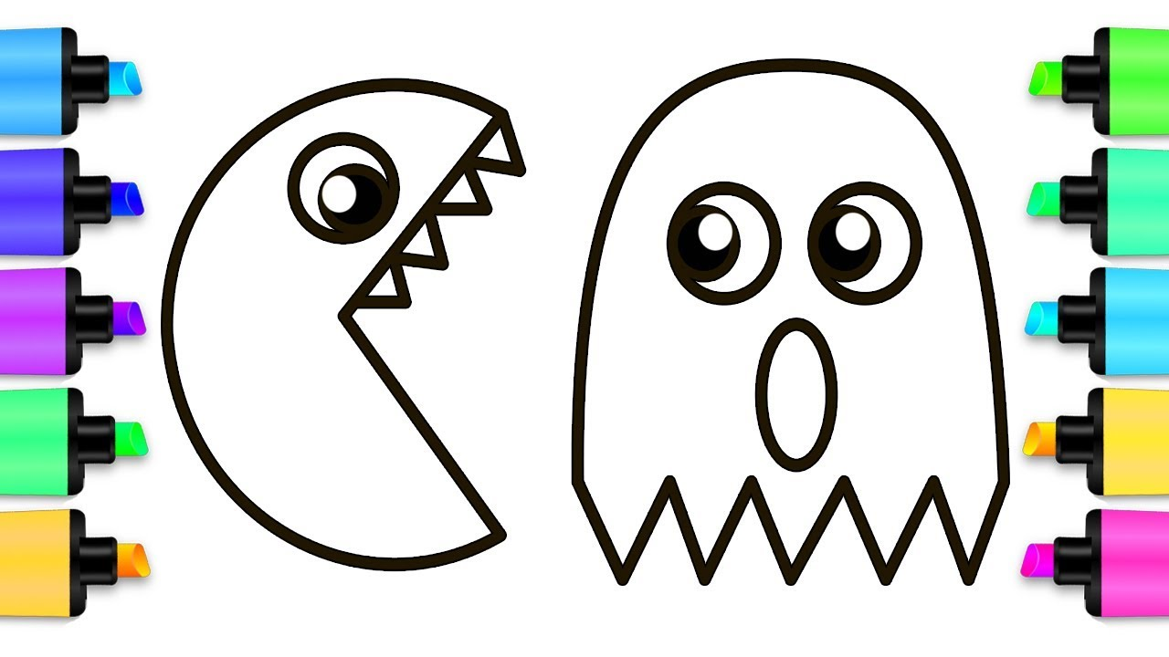 How to Draw Pac-Man and Rainbow Ghost - Coloring Pages for ...