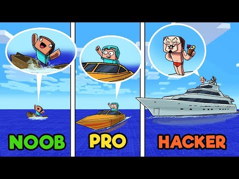 Minecraft - NOOB vs PRO vs HACKER - Boat Wars in Minecraft