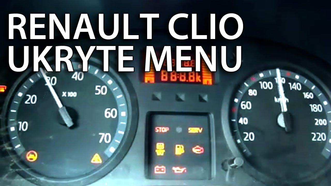 Renault Clio II ukryte menu zegarów Thalia, Symbol, Dacia