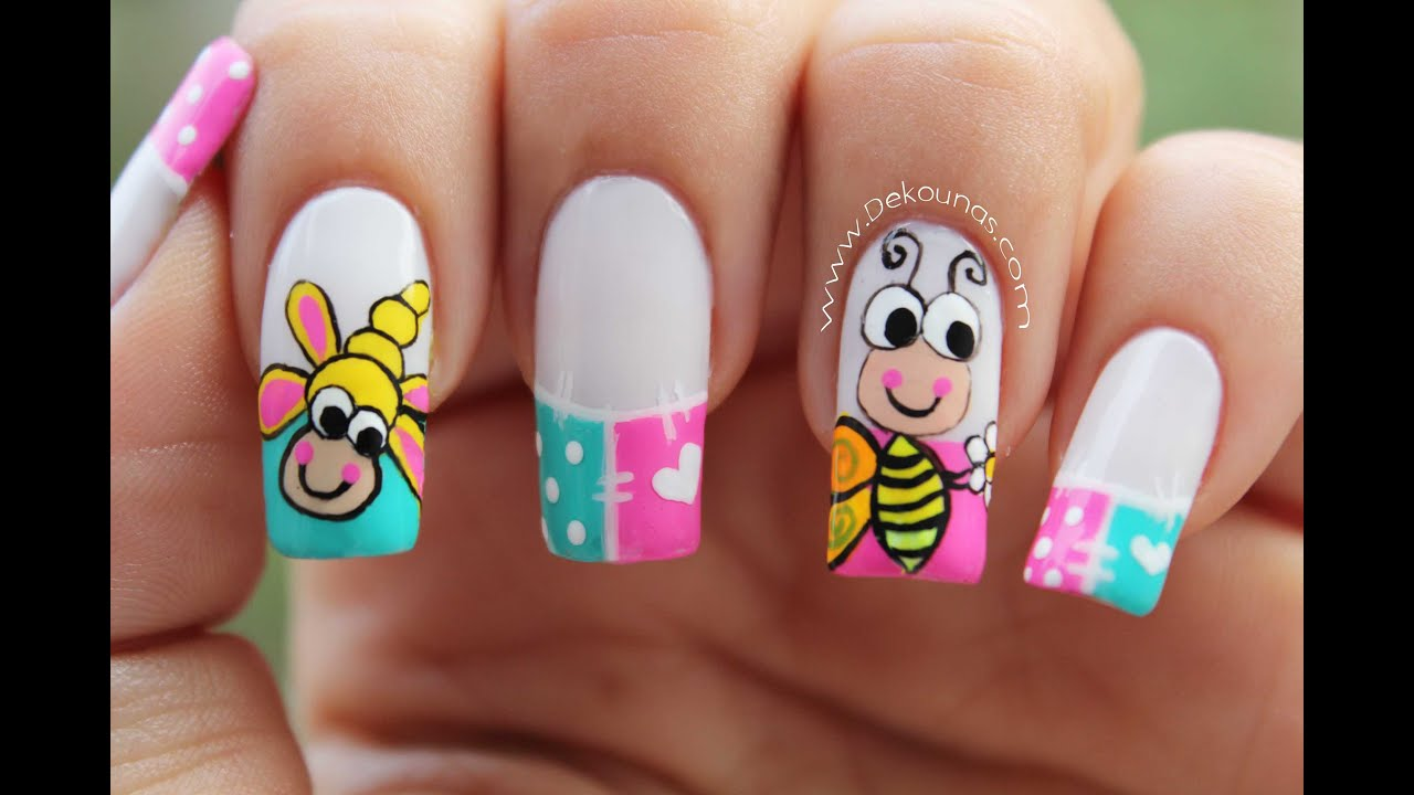 Decoracion De Uñas Caricatura Abeja Bee Nail Art Youtube