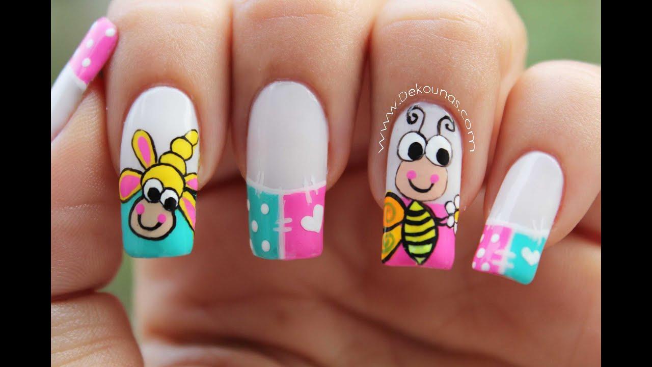 Decoracion De Uñas Caricatura Abeja Bee Nail Art Youtube