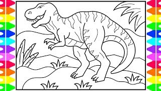 How to Draw a DINOSAUR for Kids 🖤💚🦖Dinosaur Drawing  | Dinosaur Coloring Book Pages for Kids
