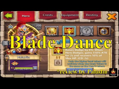 Castle Clash Blade Dance Paladin Reviews the New Talent and Insignia