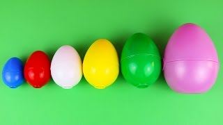 surprise eggs learn sizes from smallest to biggest opening eggs with toys and fun