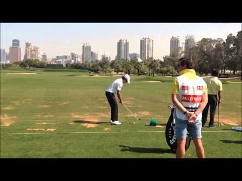 Javier Ballesteros swing on the range at the 25th Omega Dubai Desert Classic