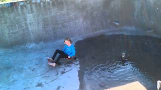 EZRoller in drained swimming pool