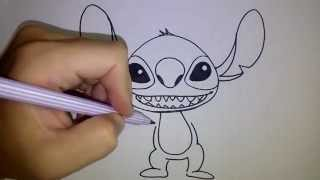 สอนวาดรูป การ์ตูน สติทซ์ Stitch วาดการ์ตูนกันเถอะ