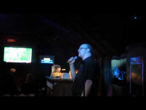 Robert sings Karaoke (Brass Monkey Bar)