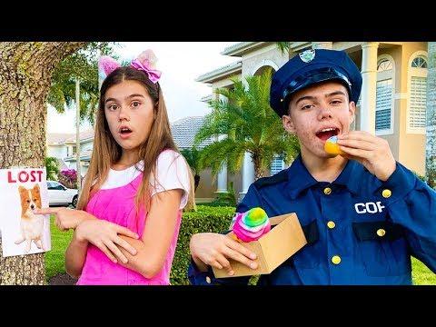 Настя и Артем с Мией играют в полицейского и правила поведения