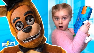 A Monster in My Closet SKIT! Freddy Fazbear NERF Hide and Seek! KIDCITY