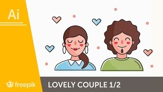 How to create a Lovely Couple Label I in Adobe Illustrator (PART 1) | Freepik