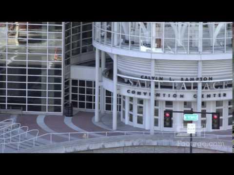 Panning shot of the Salt Palace Convention center in Salt Lake City, Utah
