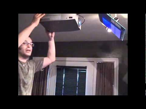 How we setup our LCD projector to reflect onto the kitchen
