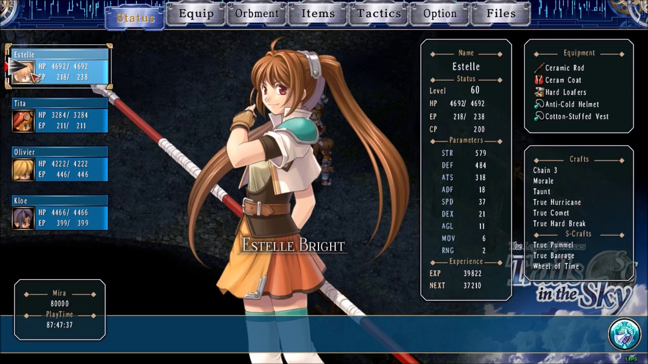 Trails In the Sky Games Via Steam PC   Using Save Editor  For Max level etc