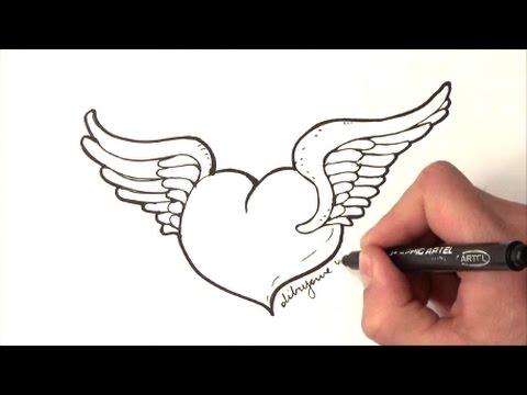 Como Desenhar Um Coracao Com Asas Como Desenhar Um Coracao Com