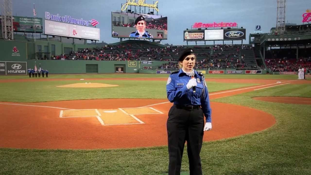 transportation security officer sings national anthem at fenway park youtube