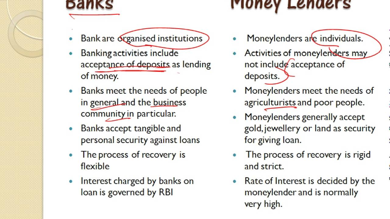 Difference Between Banks and Money Lenders in 1 min - YouTube