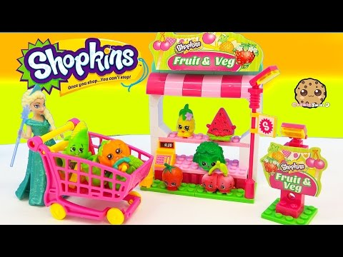 Shopkins Kinstructions Fruit & Veg Playset With Disney Frozen Queen Elsa Video Cookieswirlc