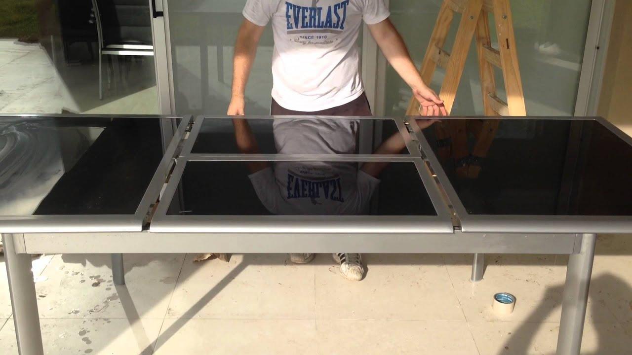Mesa continental de aluminio y vidrio extensible jardinsol for Mesa de vidrio extensible