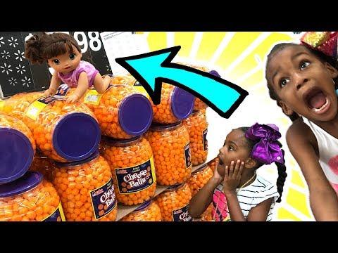 Baby Doli Mart Shopping! Bad Kid food shop baby doll toys playtoys Runny Nose