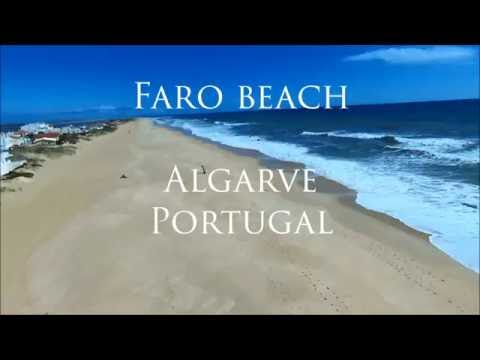 Faro beach, Portugal, drone HD video