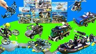 Spielzeug Unboxing Kinderfilm mit Playmobil City Action SEK und TOP Agents Autos   Toys for Kids