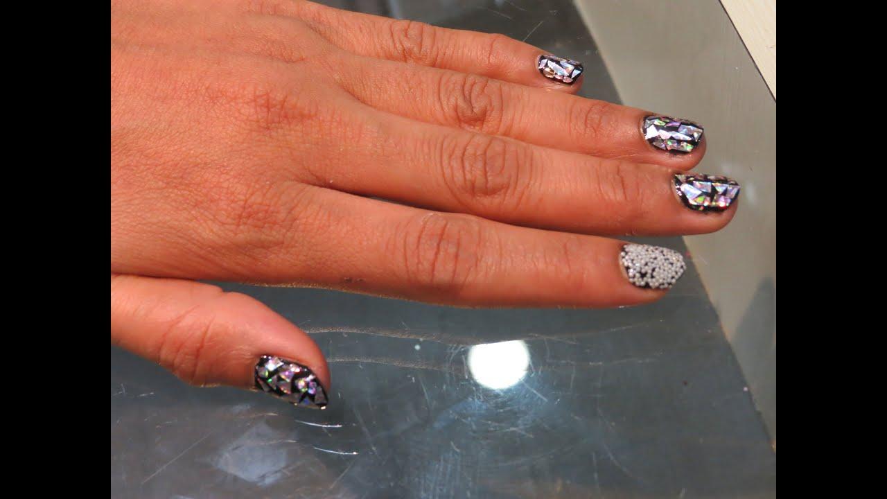 How to Do Nail Art Using Glitter Flakes - YouTube