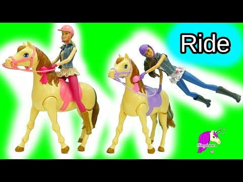 Thumbnail: Barbie Horses Really Walks Like In Real Life + Doll Swings On Saddle N Ride Horse Playset
