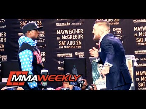 Thumbnail: Conor McGregor, Floyd Mayweather Engage in Tense First Face-Off
